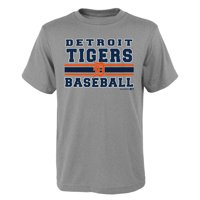 MLB Detroit TIGERS TEE Short Sleeve Boys OPP 90% Cotton 10% Polyester Gray Team Tee 4-18