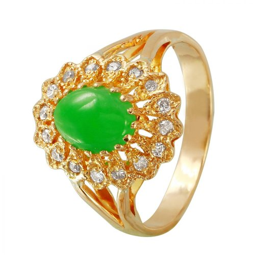 Foreli 1.46CTW Diamond And Chrysoprase 18k Yellow Gold Ring by Generic