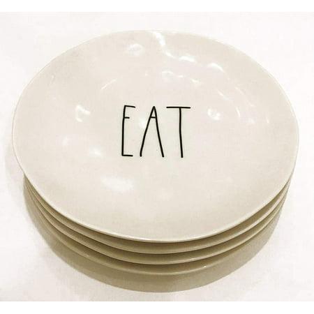 Rae Dunn by Magenta Set of 4 Melamine EAT Salad/Luncheon Plates | Diameter: (Magenta Printing Plate)