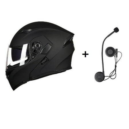 Motorcycle Helmet Full Face With Bluetooth Headset Modular Flip Up Motorbike Helmets DOT L Size Matt (Best Bluetooth Modular Motorcycle Helmet)