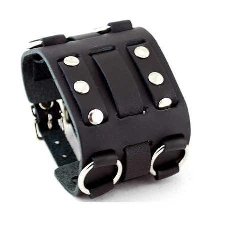 Wide Black Leather Tri Clasp Cuff Wrist Watch Band Rock Bracelet Cuff Cool By United Watchbands