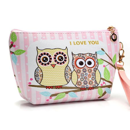 Portable Owl Cosmetic Case Pouch Zip Toiletry Organizer Travel Makeup Clutch Bag