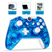 LUXMO Wired Game Controller Joystick for Xbox One/ One S & PC Windows USB Plug and Play Gamepad with Dual-Vibration - Glow Blue