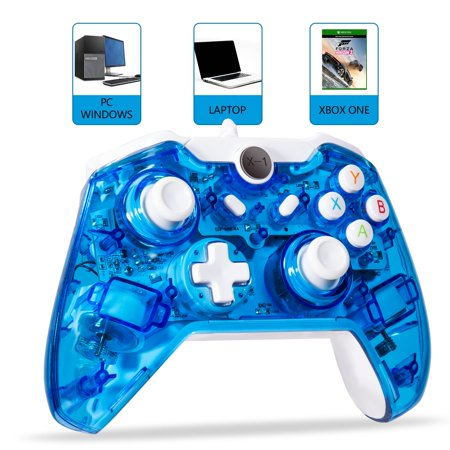 LUXMO Wired Game Controller Joystick for Xbox One/ One S & PC Windows USB Plug and Play Gamepad with Dual-Vibration - Glow (Best Pc Games To Play With Joystick)