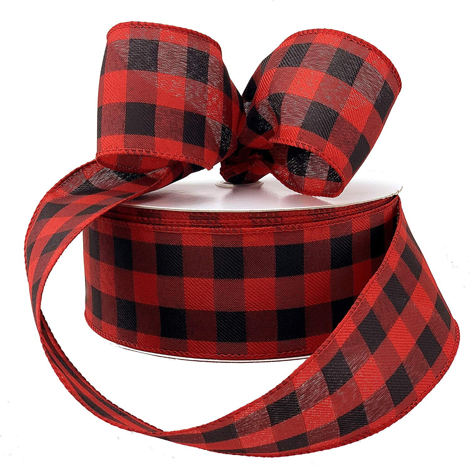 Buffalo Plaid Wired Ribbon Decoration 2 1 2 X 50 Yards Black Red Plaid Valentine S Day Christmas Wreath Farmhouse Decor Garland Gifts Wrapping Wreaths Bows Walmart Com Walmart Com