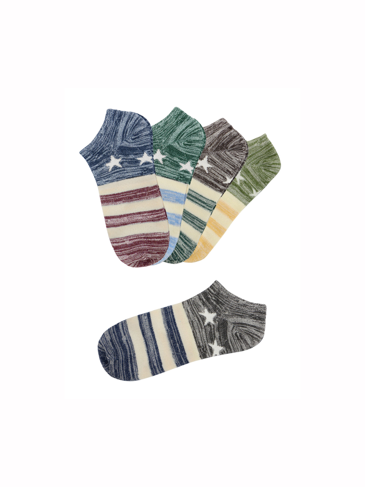 Men's Low Cut Ankle Length Stripes Stars Pattern Short Socks 5 Pairs Assorted
