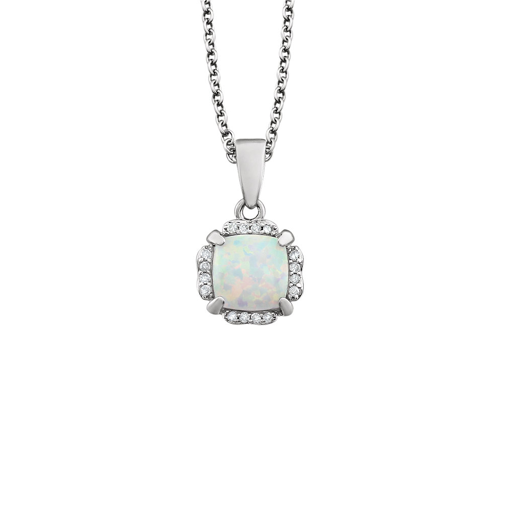 Cushion Created White Opal & Diamond 14k White Gold Necklace, 18 Inch by Black Bow Jewelry Company