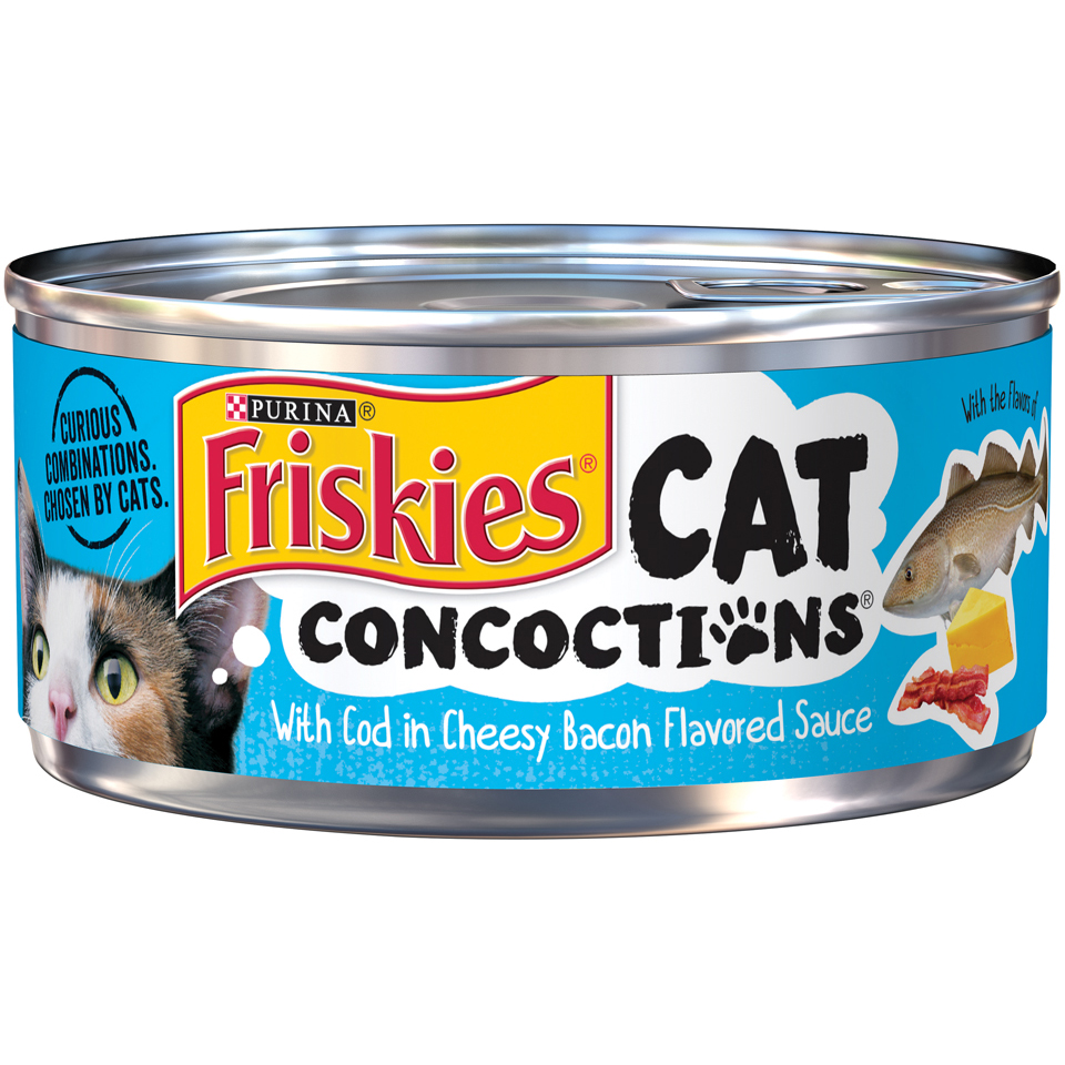 Friskies Cat Concoctions With Cod in Cheesy Bacon Flavored Sauce Adult Wet Cat Food - 5.5 oz. Cans