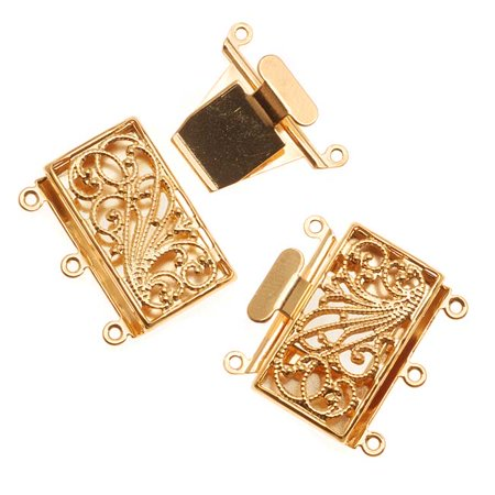 Filigree Box Clasp, 3 Strand Rectangle 23mm, 2 Clasps, Gold Tone