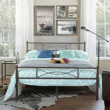Bedroom Full Metal Bed Frame Platform Base Mattress Foundation with Headboard Bed Frames And Mattresses