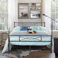 Teraves Bedroom Full Metal Bed Frame Platform Base Mattress Foundation with Headboard
