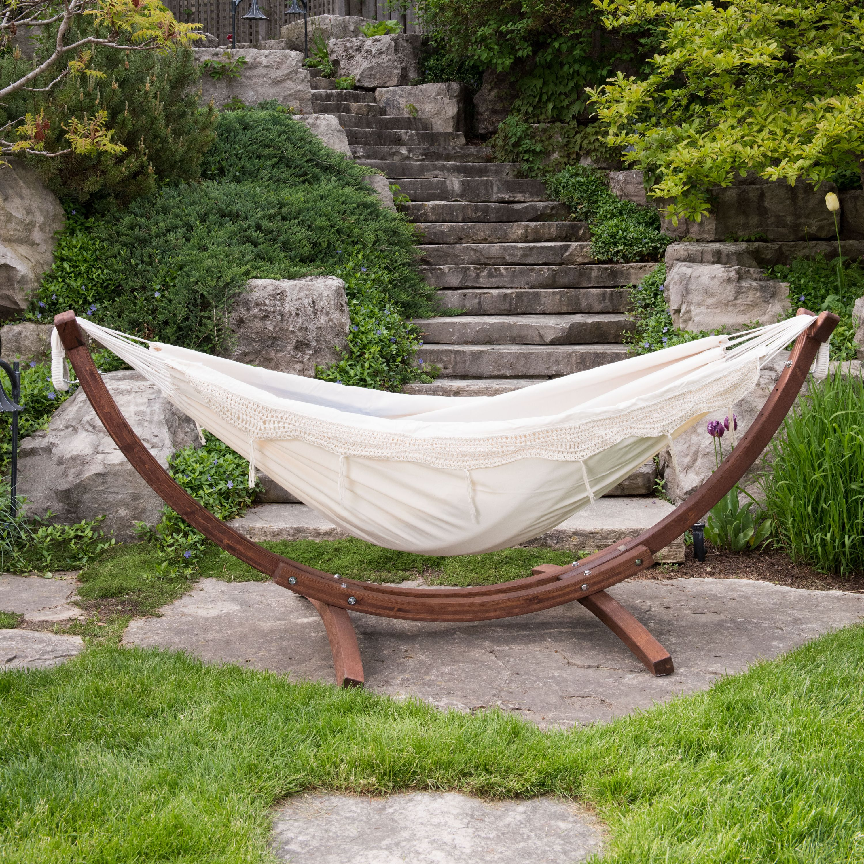 double cotton hammock with solid pine arc stand   natural  8ft   fsc certified double cotton hammock with solid pine arc stand   natural  8ft      rh   walmart