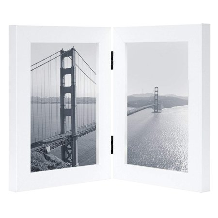 Golden State Art, 5x7 Inch Hinged Picture Frame with Glass Front - Made to Display Two 5x7 Inch Pictures, Stands Vertically on Desktop or Table Top (5x7 Double, White) ()
