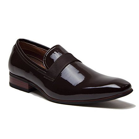 Ferro Aldo Men's 19531P Patent Leather Slip On Tuxedo Dress Shoes Loafers, Brown, 8 (Aldo Shoes Loafer)