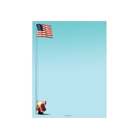 - Patriotic Holiday Letterhead Paper - Santa Raises American Flag Stationery - 80 Paper Sheets Per Pack