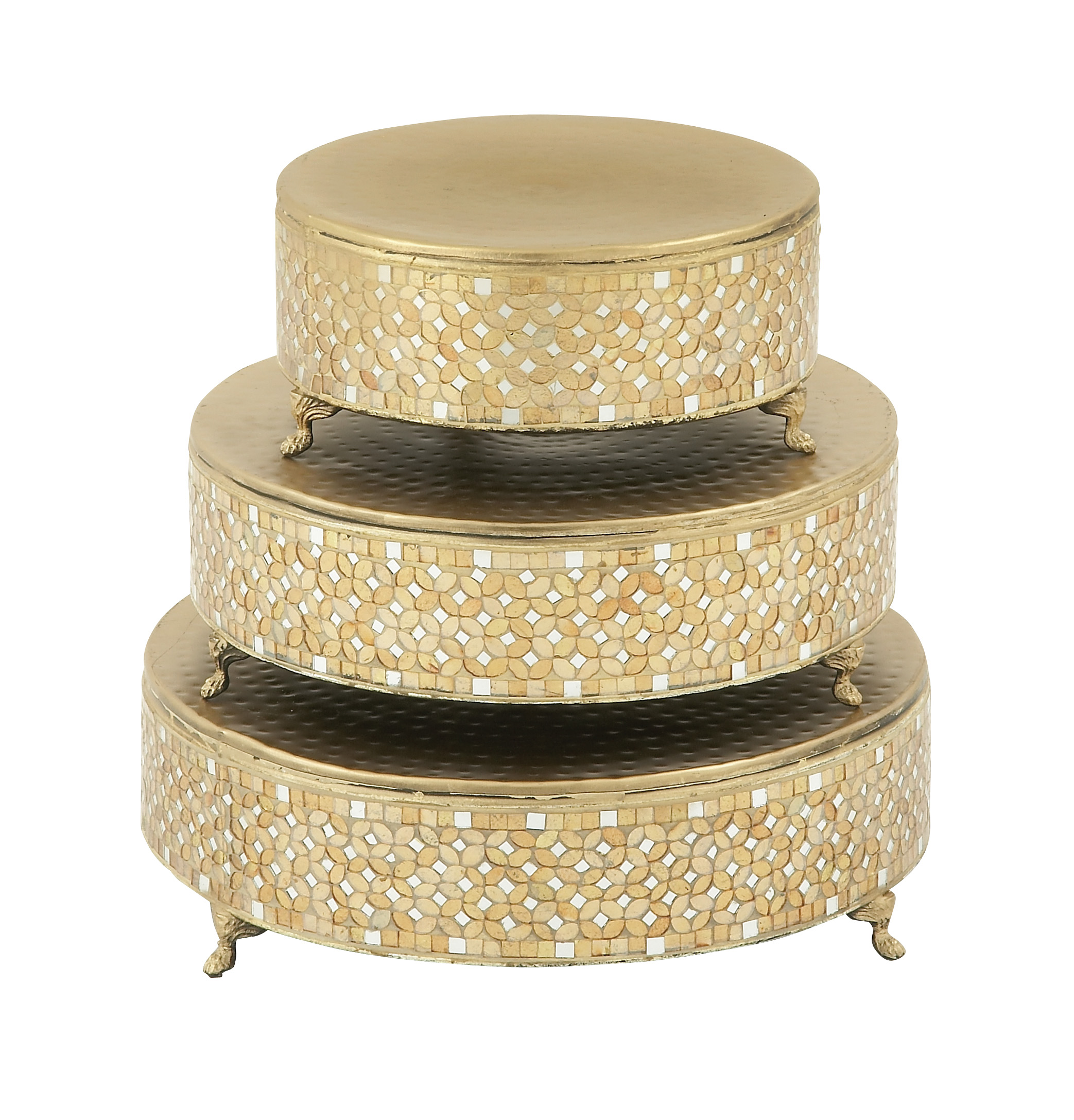 Amazing Set Of Three Metal Mosaic Cake Stand