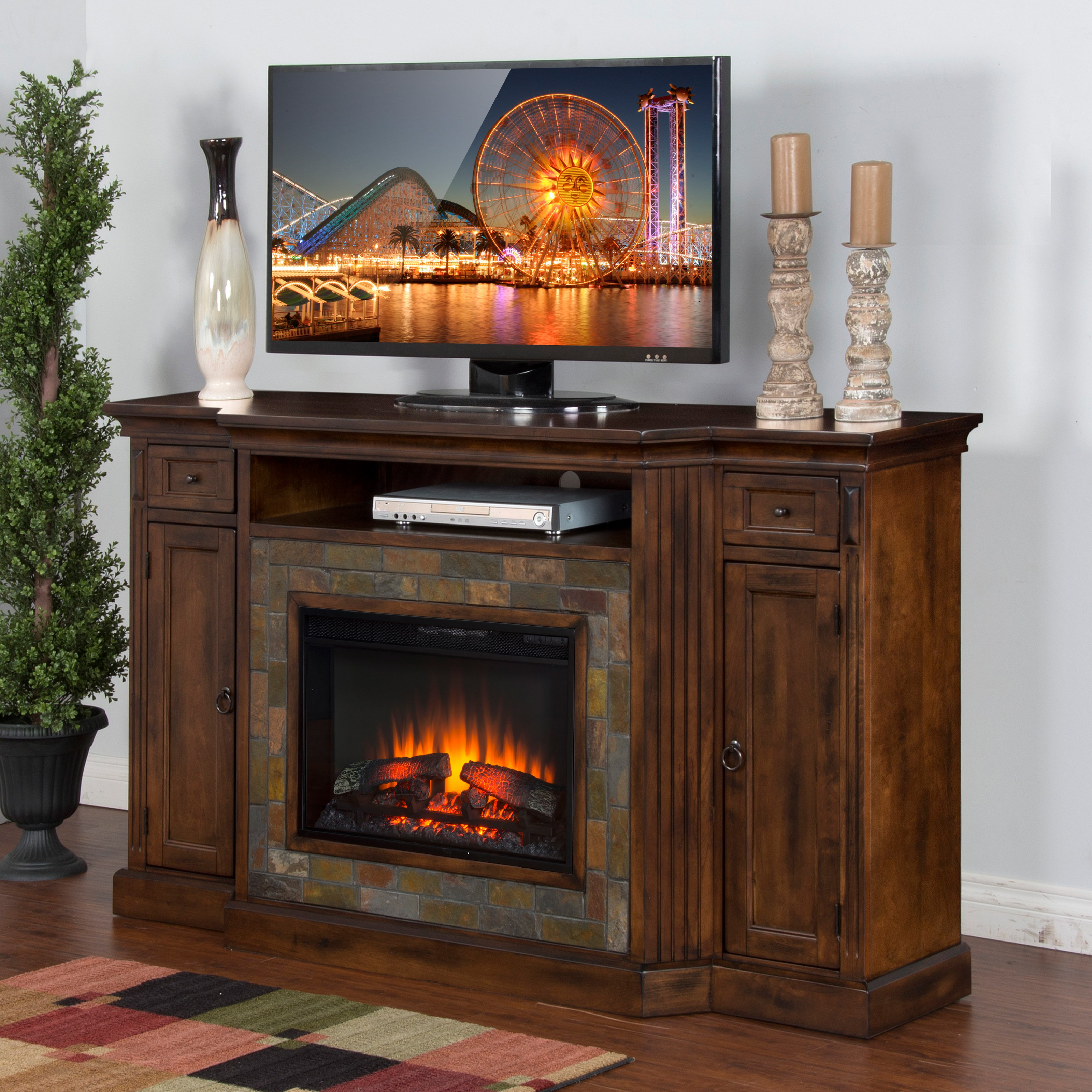 Sunny Designs Santa Fe 72 in. Electric Fireplace TV Console