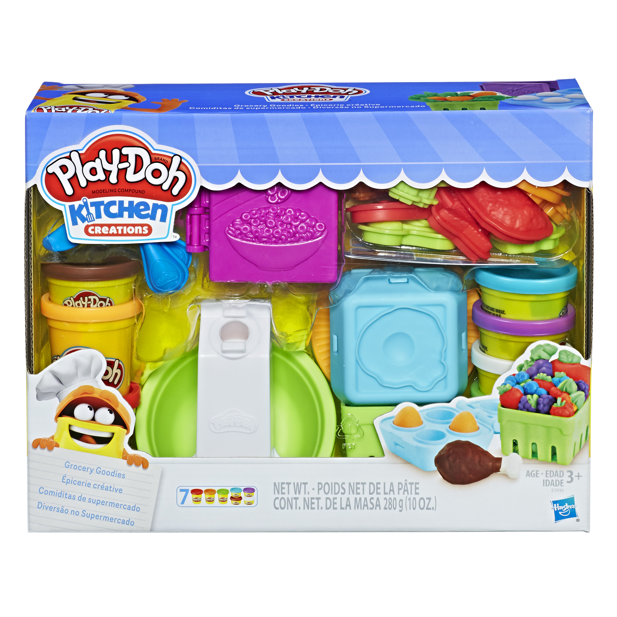 Play Doh Kitchen Creations Grocery Goodies Food Set With 7 Cans Of