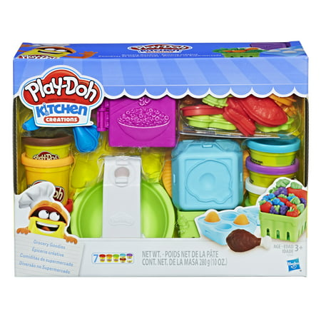 Play-Doh Kitchen Creations Grocery Goodies Food Set with 7 Cans of Dough & 20+ Tools - Creation Crafts