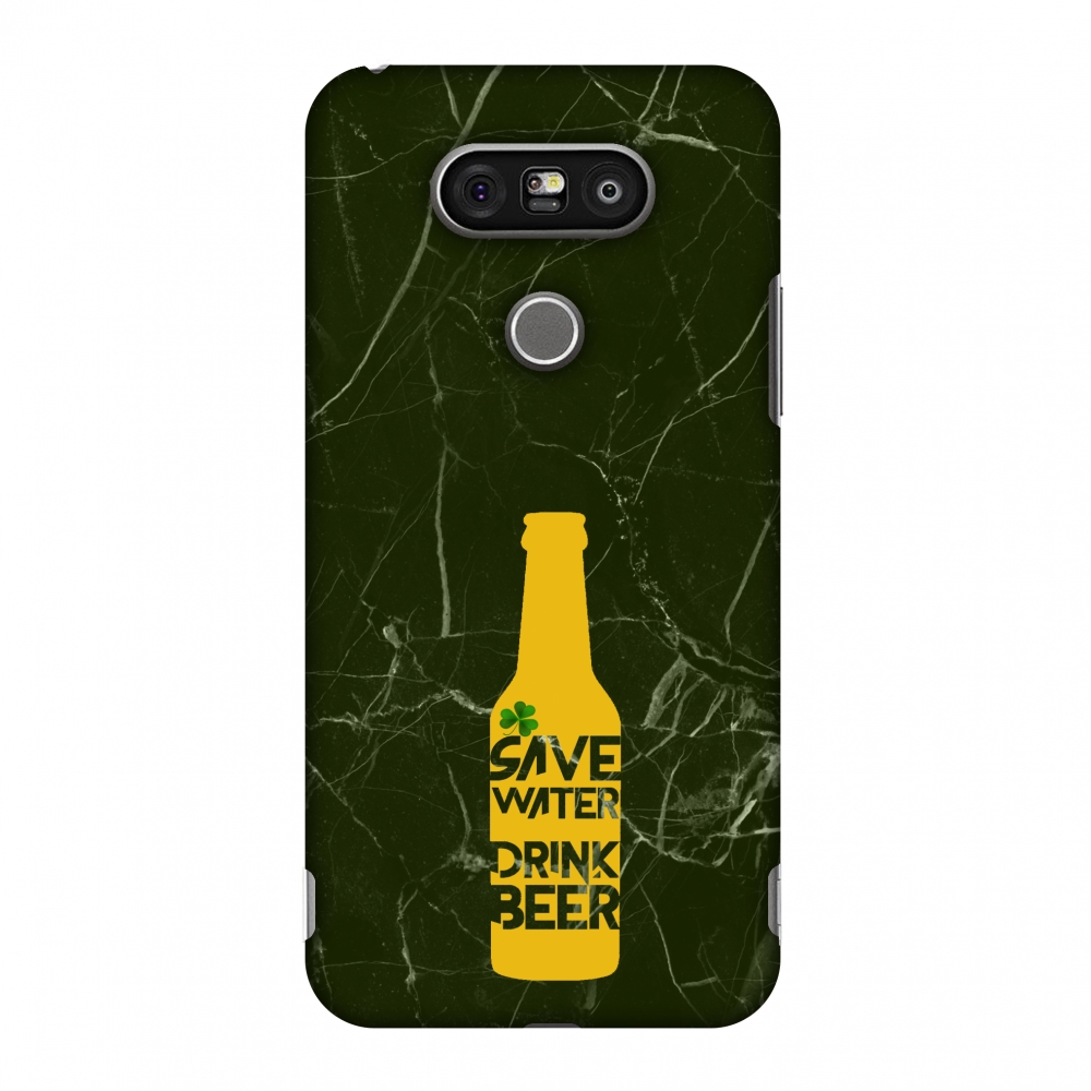 LG G5 Case, Premium Handcrafted Designer Hard Shell Snap On Case Printed Back Cover with Screen Cleaning Kit for LG G5, Slim, Protective - Save water drink beer - Green marble