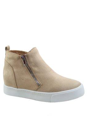 Taylor Women's Round Toe Side Zip Hidden Wedge Booties Sneaker Shoes