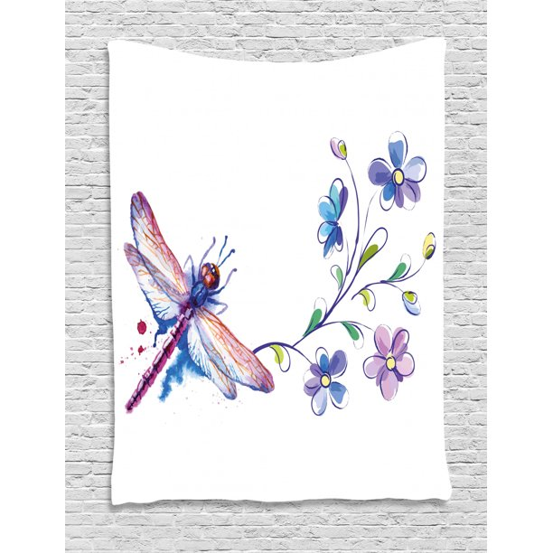 Dragonfly Tapestry Watercolor Bug Butterfly Like Moth With Branch Ivy Flowers Lilies Art Wall Hanging For Bedroom Living Room Dorm Decor Green Purple And Blue By Ambesonne Walmart Com Walmart Com