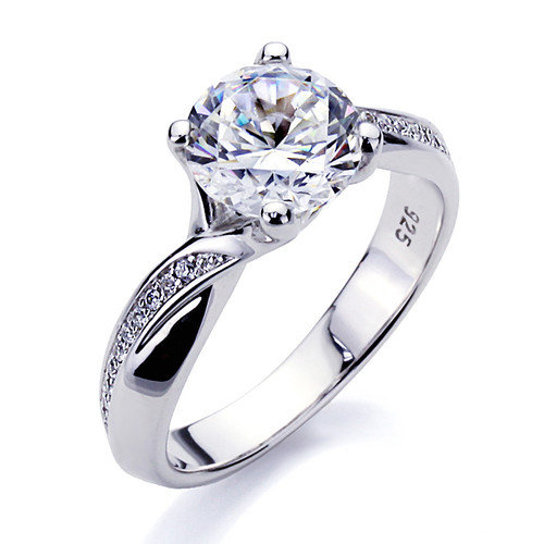 Double Accent Sterling Silver Round Cut Diamond Wedding and Engagement Ring