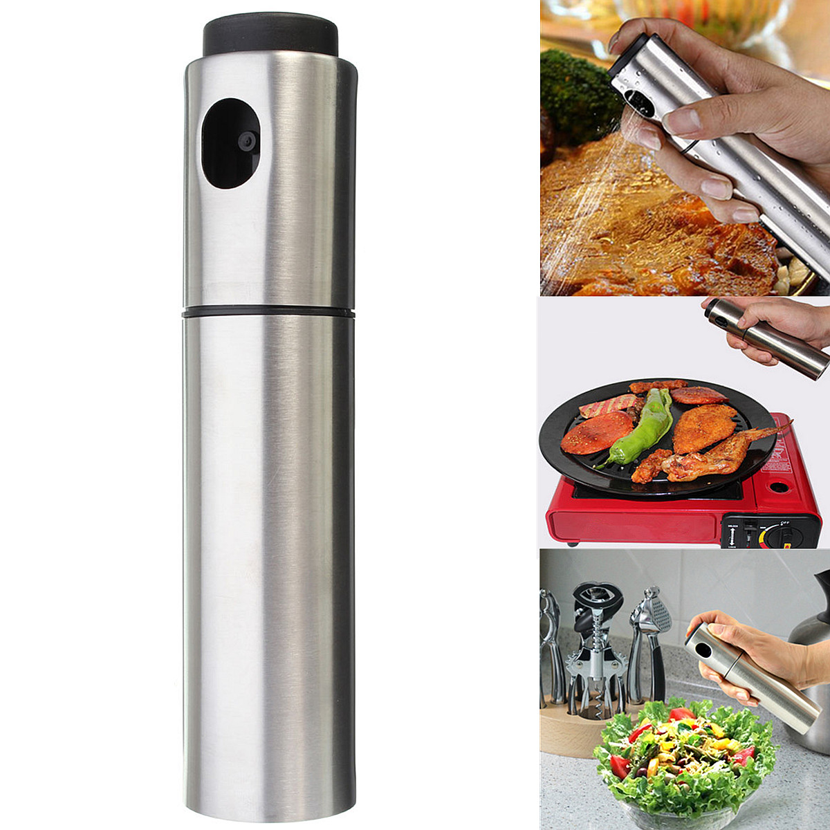 Grtsunsea Stainless Steel Olive Pump Spray Fine Bottle Oil Sprayer Pot Cooking Tool,BBQ Cooking Sauce Sprayer