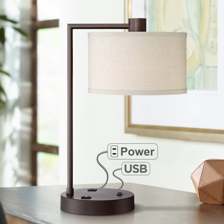 360 Lighting Colby Bronze Finish Desk Lamp with Outlet and USB Port