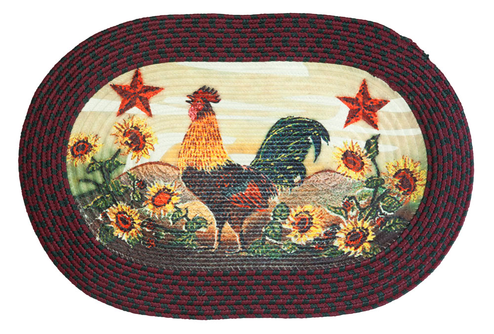 Rooster in Sunflowers Braided Rug by OakRidgeTM by Walter Drake