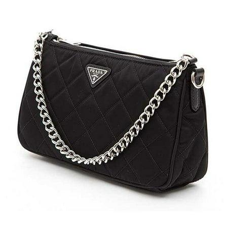 dd41e9a22614d1 prada tessuto impuntu quilted nylon chain handle shoulder bag bt1026 ...