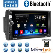 """Android 8.1 2 Din GPS Car Stereo Radio7"""" HD 1080P Car Player with Bluetooth WIFI GPS FM Radio Receiver Suppport Rear Camera ,2G RAM +16G ROM ,with 12 LED Camera"""