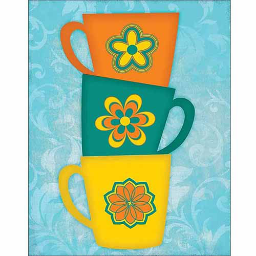 Bright Coffee Cup Stack Kitchen Painting Blue Canvas Art By Pied