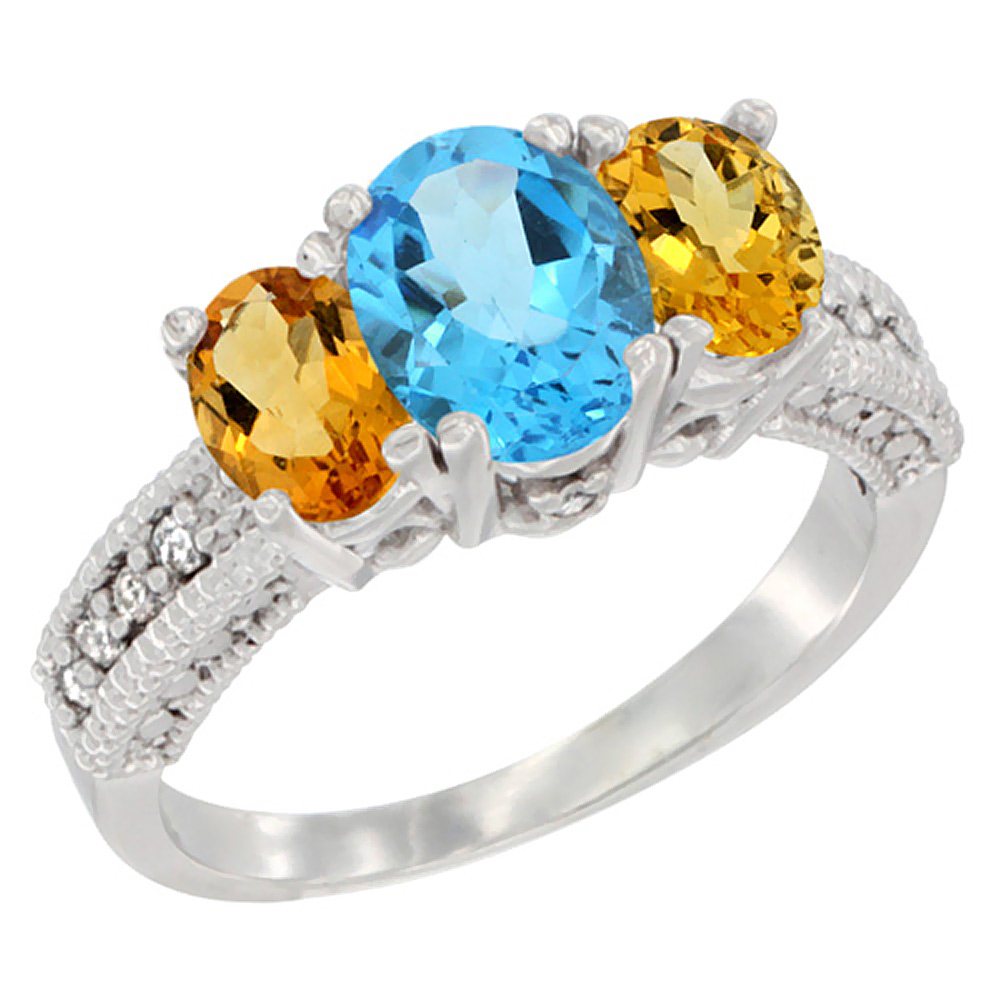10K White Gold Diamond Natural Swiss Blue Topaz Ring Oval 3-stone with Citrine, sizes 5 - 10