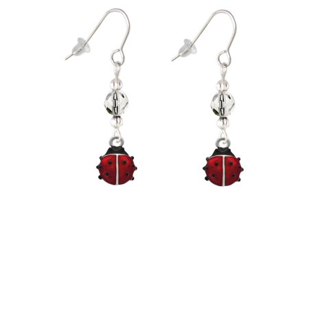Mini Red Translucent Ladybug Clear Bead French Earrings