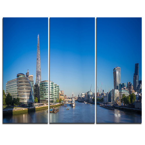 Design Art London Panoramic Shot - 3 Piece Graphic Art on Wrapped Canvas Set