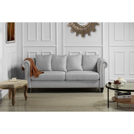Classic Chesterfield Scroll Arm Linen Living Room Sofa with Nailhead Trim (Light Grey) ()