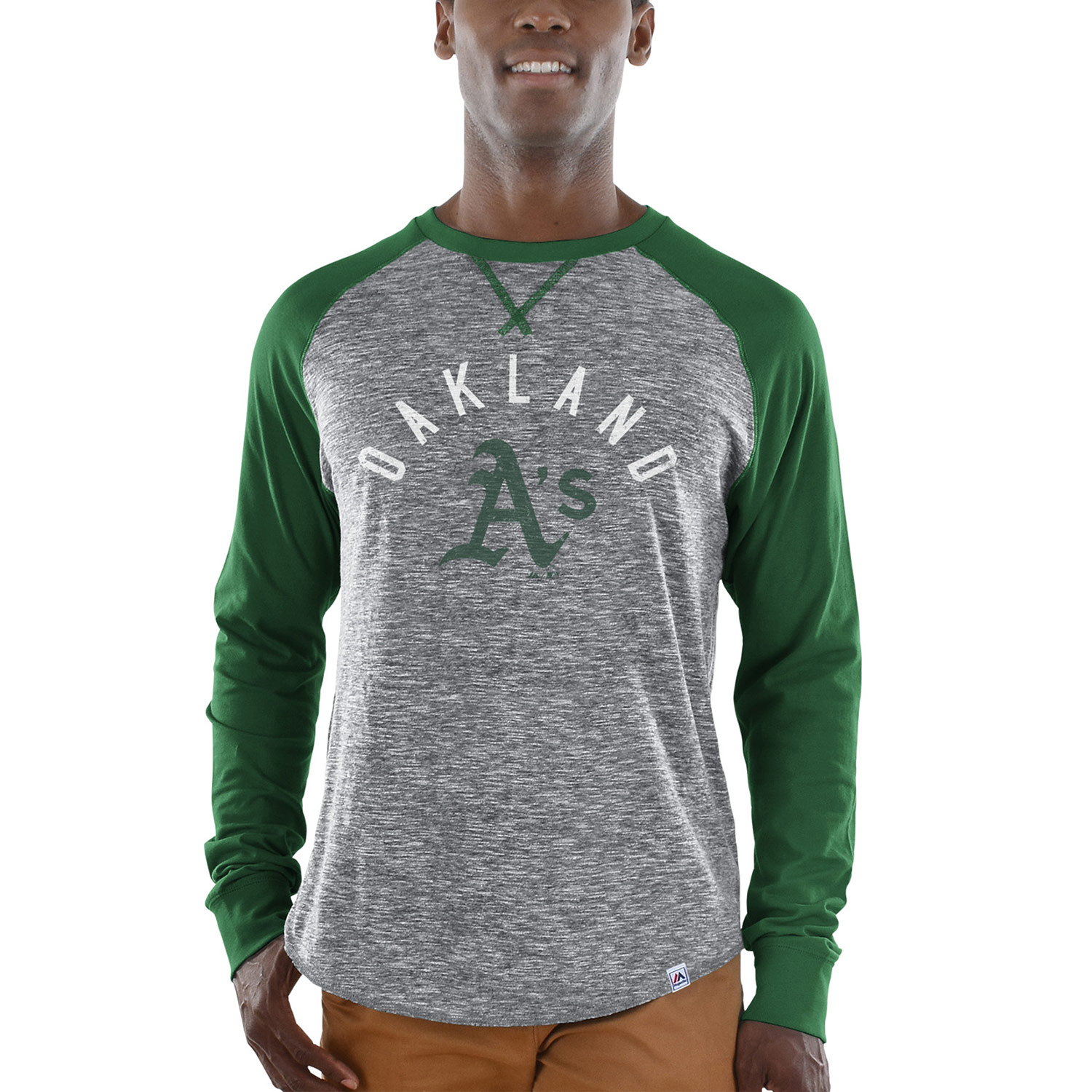 Oakland Athletics Majestic Special Move Long Sleeve T-Shirt - Gray/Green