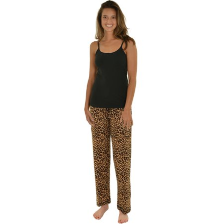 Womens PJ Set Black Cami Shelf Bra Pajama Pant 2 Pc Sleepwear Brown Leopard