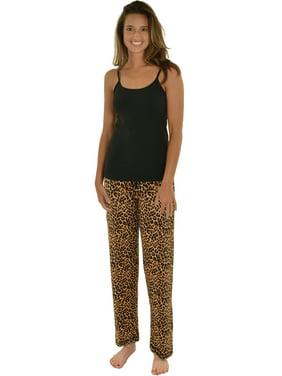 Product Image Womens PJ Set Black Cami Shelf Bra Pajama Pant 2 Pc Sleepwear  Brown Leopard 2c8d13435
