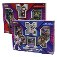 Pokemon TCG Mega Mewtwo X Collection Box & Mega Mewtwo Y Collection Box Bundle. Includes 1 of Each Collection Box, 8 Total Booster Packs, 2 Promo Cards, and 2 Sculpted Figures