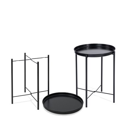 CAP LIVING 17-Inch Foldable Round Metal Tray End Table, Side Table, Set of 2, Colors Available in Matte Black and Matte White