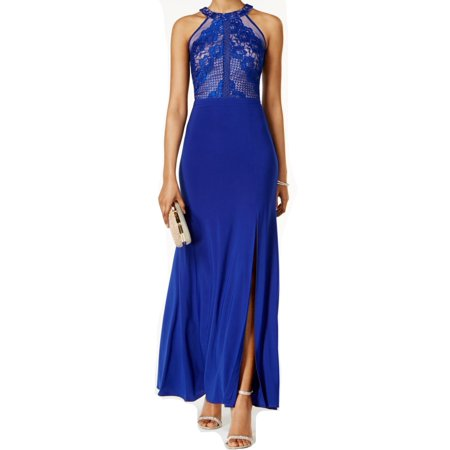 Nightway NEW Blue Womens Size 8 Lace Illusion Front-Slit Gown Dress](Marine Dress Blues)