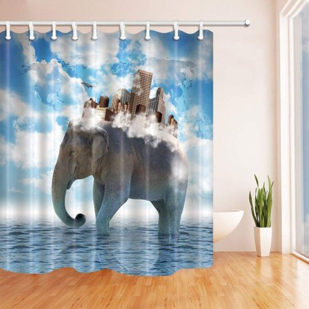 BOSDECO City Decor Buildings on the back of the Elephant in the Water Polyester Fabric Bathroom Shower Curtain 66x72 inches - image 1 of 1