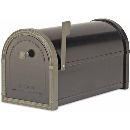 Architectural Mailboxes Bellevue Post Mount Mailbox, Black with Bronze Accents