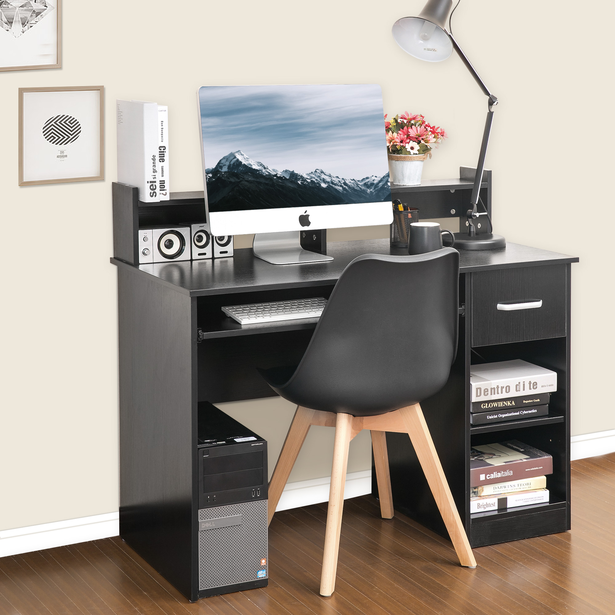 ModernLuxe Computer Desk Office Home Furniture Writing Desk with Hutch and Keyboard Tray, Black
