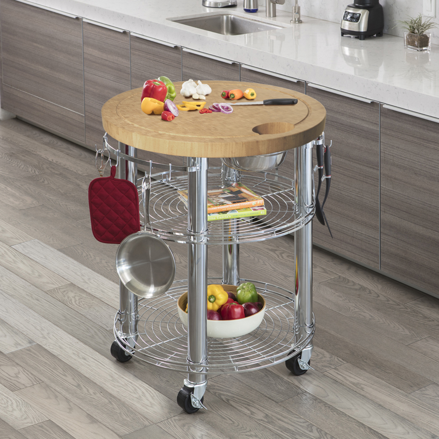 Seville Classics Rolling Solid Bamboo Butcher Block Top