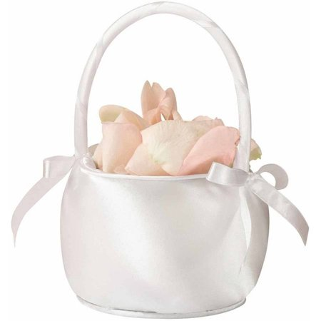 Lillian Rose Satin Flower Girl Basket, Off White