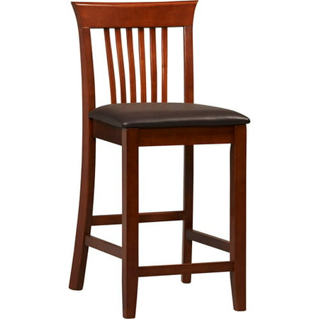 Linon Triena Craftsman Counter Stool, Dark Cherry, 24 inch Seat Height Black Cherry Bar Stools