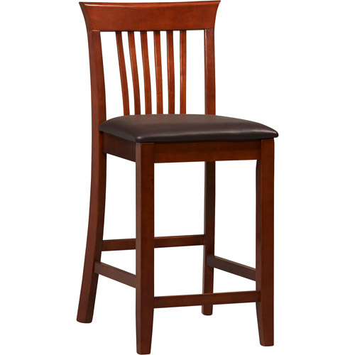Linon Triena Craftsman Counter Stool, Dark Cherry, 24 inch Seat Height